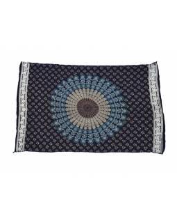 Modrý bavlněný sárong s ručním tiskem, paví peří, 110x170cm