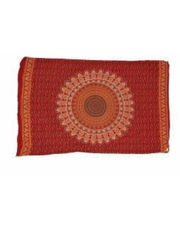 Červený bavlněný sárong s ručním tiskem, paví peří, 110x170cm