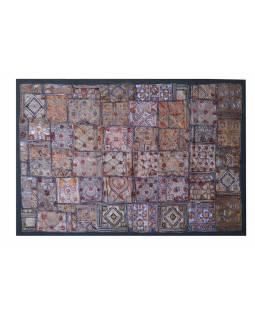 "Tapiserie, ""Kali Jani"", Gujarat, antik patchwork, bohatá výšivka, 100x150cm"