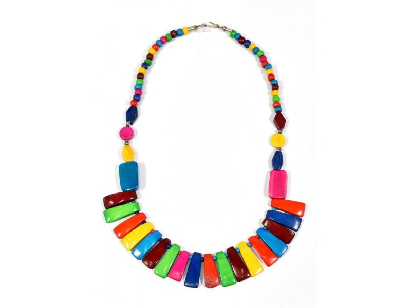 Multibarevný kostěný náhrdelník