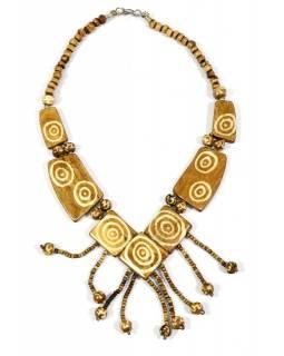 Béžový kostěný náhrdelník s motivem spirály