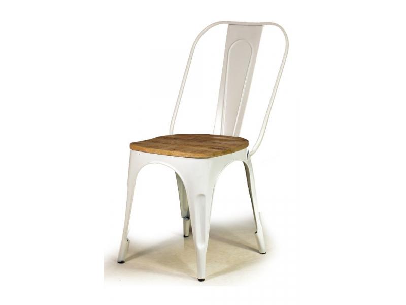 Kovová židle s dřevěným teakovým sedákem, 59x42x92cm