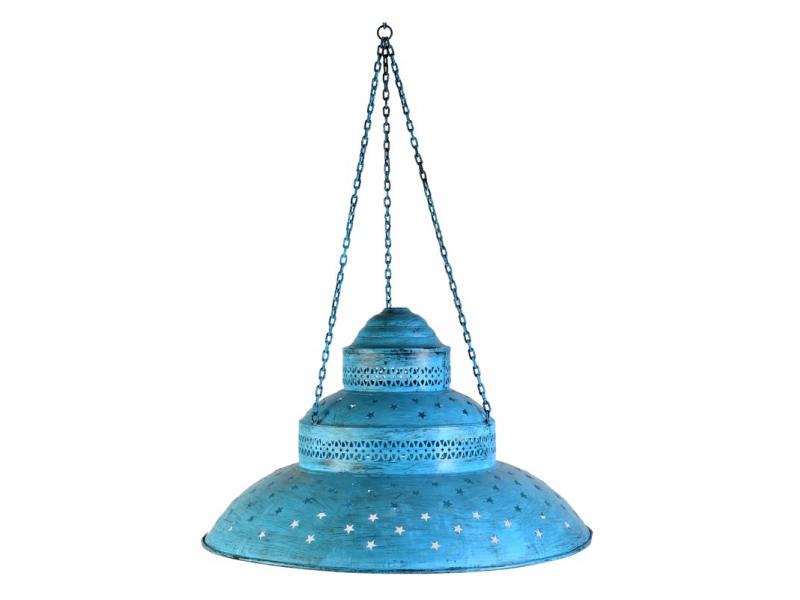 Kovová lampa v orientálním stylu, modrá patina, průměr 60cm