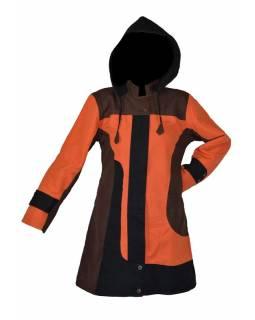 Černo oranžový kabátek s kapucí, zapínání na zip, kapsy