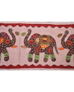Ručně vyšívaný závěs nad dveře se slony, přírodní hnědá, 168x35