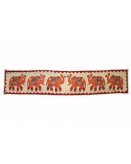 Ručně vyšívaný závěs nad dveře se slony, přírodní zelená, 168x35
