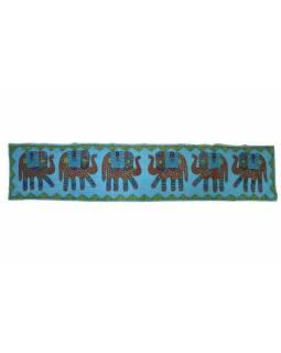 Ručně vyšívaný závěs nad dveře se slony, modrá, 168x35
