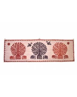 Ručně vyšívaný závěs nad dveře se slony, přírodní hnědá, 148x46