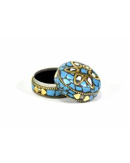 Orientální bohatě zdobená krabička, modrá, 5cm