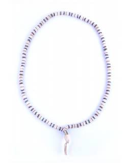 Mala kostěná, bílá, 108 zdobených korálků, průměr 10mm, se střapcem, délka 50cm