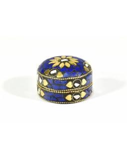Orientální bohatě zdobená krabička, modrá, 6,5 cm