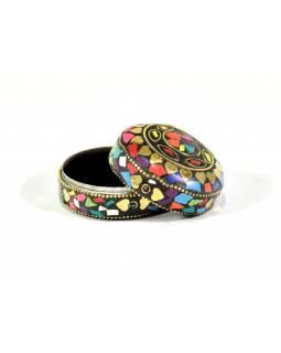 Orientální bohatě zdobená krabička, multibarevná, 6,5 cm