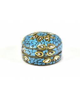 Orientální bohatě zdobená krabička, modrá, 7,5 cm
