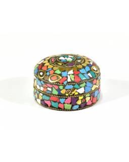 Orientální bohatě zdobená krabička, multibarevná, 7,5 cm