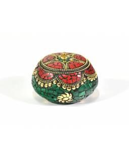 Orientální bohatě zdobená krabička, červeno-tyrkysová, 7,5 cm