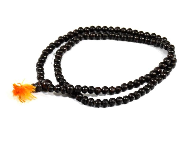Modlitební korálky - mala, tmavě hnědá, dřevěná, 108 korálků, 30cm