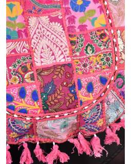 Růžová unikátní taška z Gudžarátu, ručně vyšívaná, 50x40cm