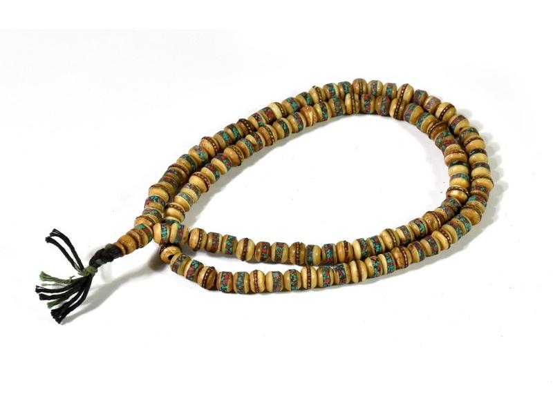 Modlitební korálky - mala, kostěná, 108 korálků, 8 mm průměr, 30cm