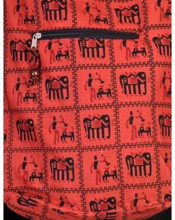 Červené taška přes rameno, potisk sloni, zip, kapsy, 34x37cm