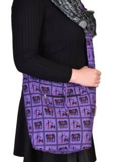 Fialová taška přes rameno, potisk sloni, zip, kapsy, 34x37cm