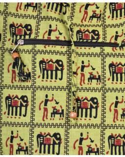 Zelená taška přes rameno, potisk sloni, zip, kapsy, 34x37cm