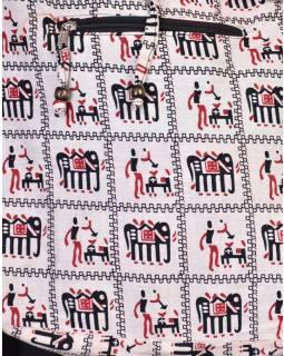 Bílá taška přes rameno, potisk sloni, zip, kapsy, 34x37cm