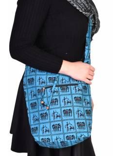 Modrá taška přes rameno, potisk sloni, zip, kapsy, 34x37cm