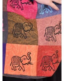 Multibarevná patchworková taška přes rameno s tiskem Slon, kapsa, zip, 38x38cm