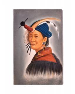 Ručně malovaný obraz na plátně, Nepál, cca 48*72cm