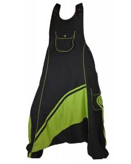 Dlouhé turecké kalhoty s laclem, černo-zelené, spirála na kapse, knoflík