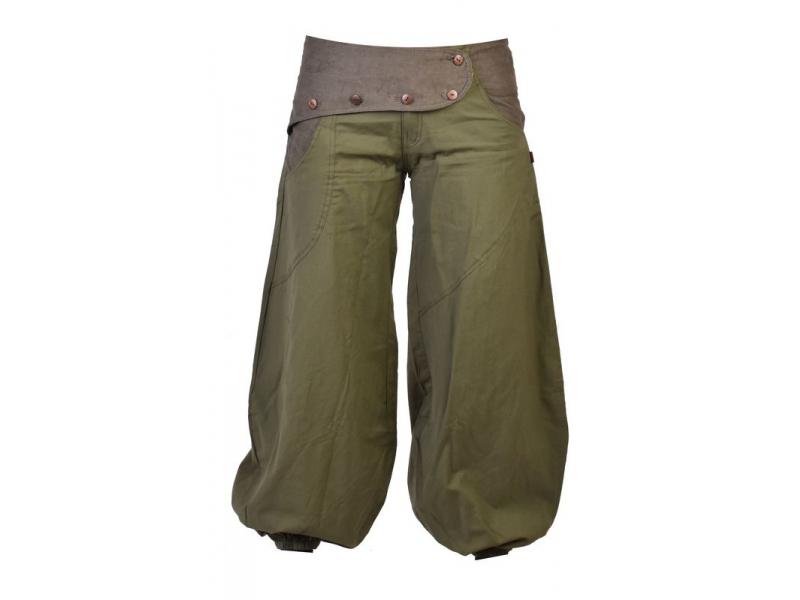 Dlouhé khaki balonové kalhoty s manžestrem, zip a knoflíky, výšivka, kapsy