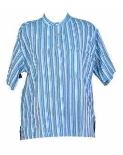 Pruhovaná pánská košile-kurta s krátkým rukávem a kapsičkou ... 47f521b3a0