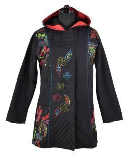 Černý kabát s kapucí a potiskem floral, kapsy, zip, výšivka