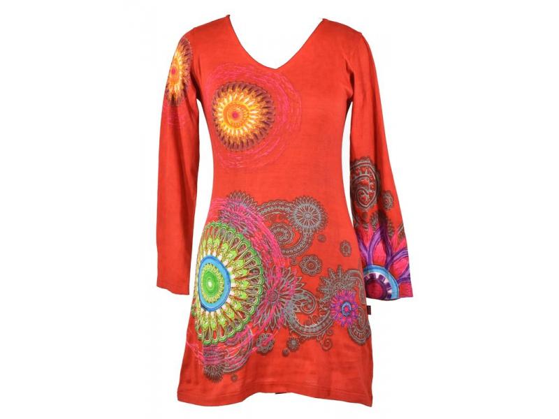 """Červené šaty s dlouhým rukávem """"Mandala"""", barevný potisk, výstřih do V"""