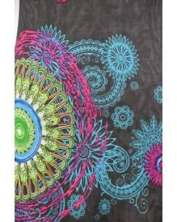 """Šedé šaty s dlouhým rukávem """"Mandala"""", barevný potisk, výstřih do V"""