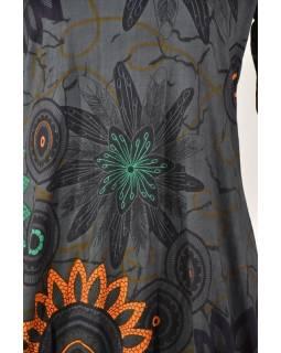Šedé balonové šaty s dlouhým rukávem, Flower Mandala potisk, kulatý výstřih