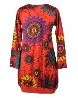 Červené balonové šaty s dlouhým rukávem, Flower Mandala potisk, kulatý výstřih