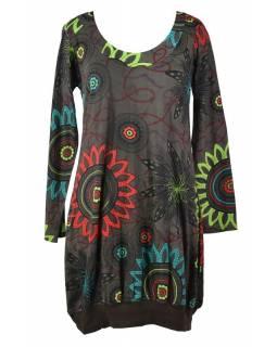 Hnědé balonové šaty s dlouhým rukávem, Flower Mandala potisk, kulatý výstřih