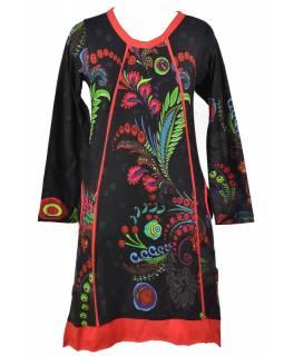 Černé šaty s dlouhým rukávem, Floral potisk