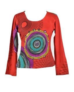 Červené tričko s dlouhým rukávem, Mandala potisk, kulatý výstřih
