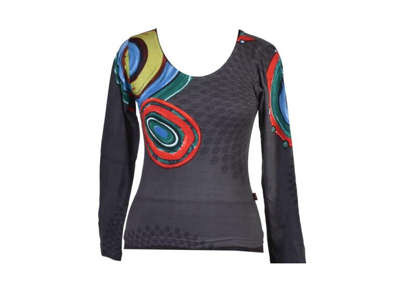 Šedé tričko s dlouhým rukávem, Mandala potisk, kulatý výstřih