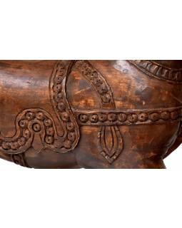 Houpací kůň, ručně vyřezávaný, antik, mangové dřevo, 100x32x76cm