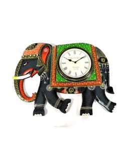 Hodiny se slonem/slon s hodinami, ručně malované dřevo, 62x46cm