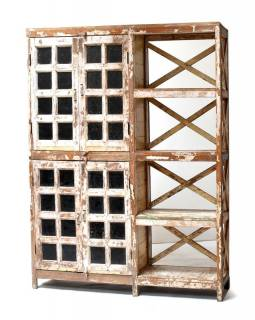 Prosklená skříň z antik teakového dřeva s regálem, 150x30x184cm
