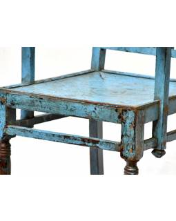 Tyrkysová židle, antik, teakové dřevo, kování, 53x50x88cm
