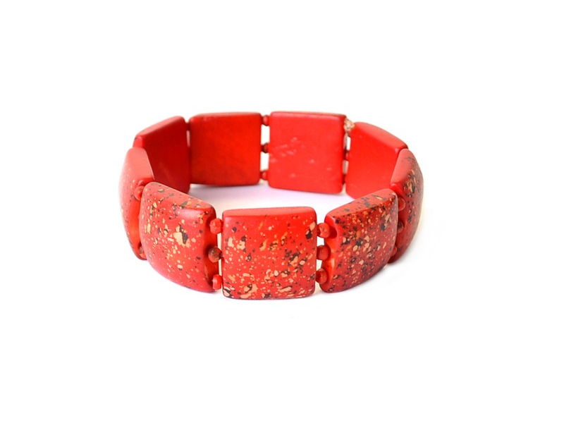Náramek, kost, čtverce, červené, na gumičce