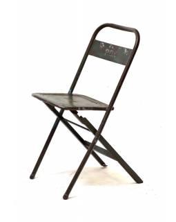 Kovová skládací židle, antik, 40x50x77cm