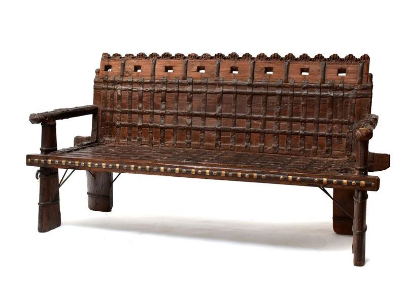 Masivní lavice z antik teakového dřeva s mosazným kováním, 204x58x100cm