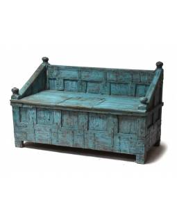 Lavice s úložným prostorem, antik teak, tyrkysová patina, 152x75x94cm