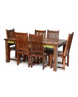 Jídelní stůl a 6 židlí v Goa stylu, starý teak, 200x100x76cm